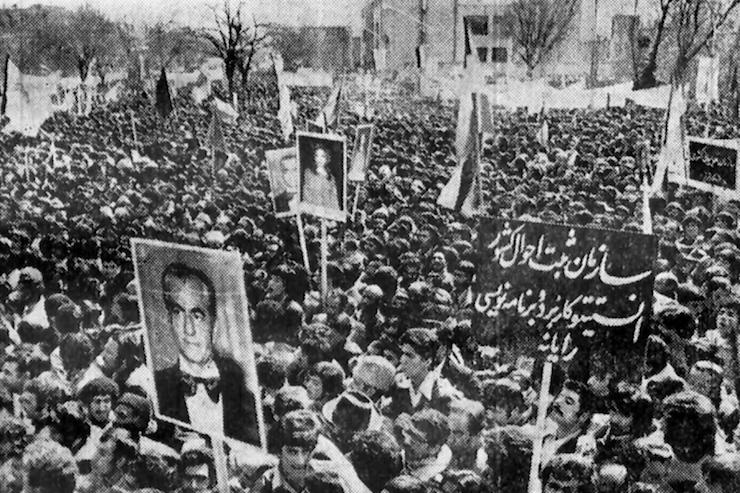 A pro-Shah demonstration in Tabriz, Iran,April 8, 1978.