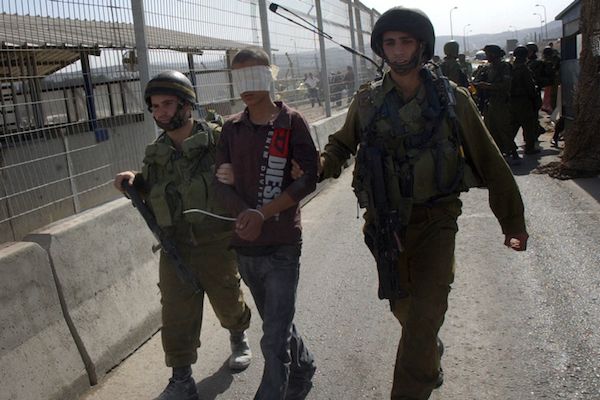 Illustrative photo of Israeli soldiers detain a blindfolded Palestinian child. (Wagdi Ashtiyeh/Flash90)