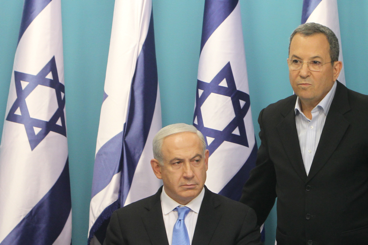 Israel's Prime Minister Benjamin Netanyahu and Defense Minister Ehud Barak attend a press conference at the PM's office in Jerusalem, November 21, 2012. (Miriam Alster/Flash90)