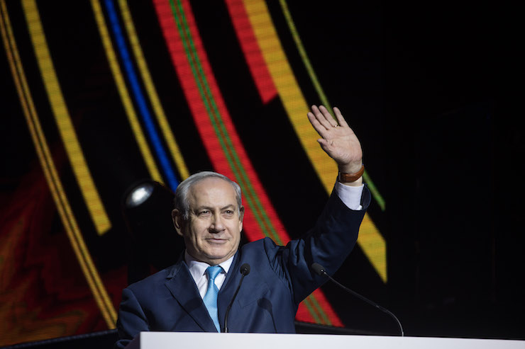 Israel's Prime Minister Benjamin Netanyahu attends a Birthright event held at the International Conference Center in Jerusalem, on December 24, 2017. (Hadas Parush/Flash90)