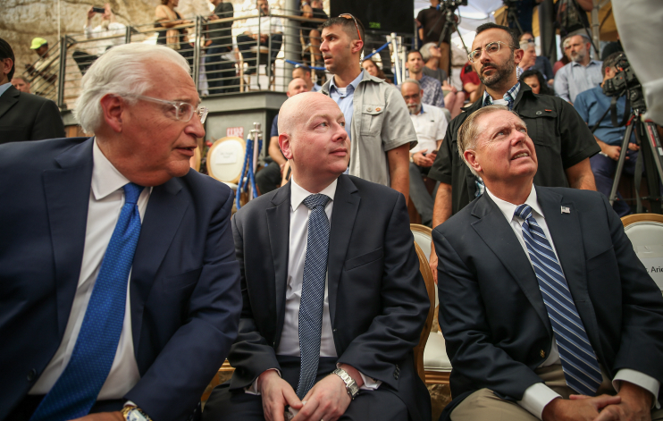 U.S. Ambassador to Israel David Friedman (left) with White House Middle East envoy Jason Greenblatt (center) and Senator Lindsey Graham seen during the opening ceremony of an the Pilgrimage Road at the City of David archaeological site in the East Jerusalem neighborhood of Silwan, June 30, 2019. (Flash90)