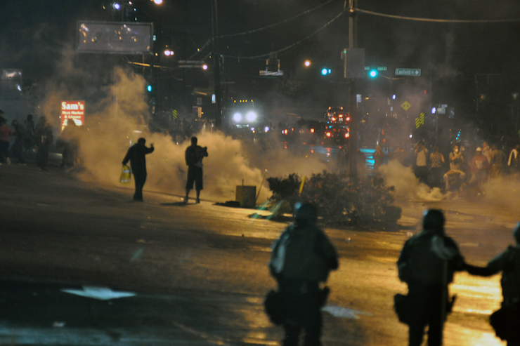 Police in Ferguson, Missouri fire tear gas at protesters during the unrest that followed the police killing of Michael Brown in the city. (Loavesofbread/CC BY-SA 4.0)