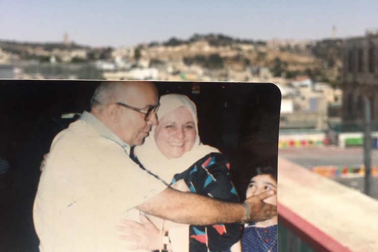 A photo of my Palestinian grandmother, Najwa Qattan, with Jerusalem in the background. (Nooran Alhamdan)