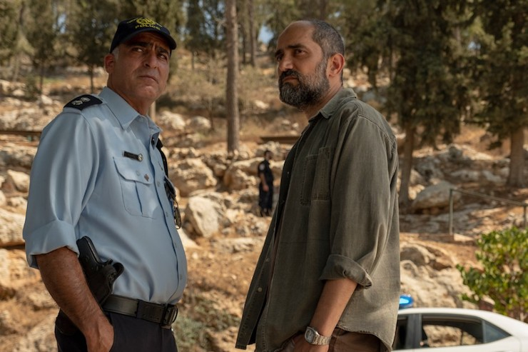 "An Israeli police officer stands alongside a Shin Bet officer in a scene from HBO's ""Our Boys."" (HBO)"