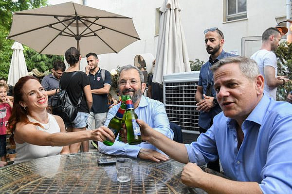 Meretz Chairman Nitzan Horowitz (right), Former Israeli Prime Minister and leader of Israel Democratic Party Ehud Barak (center) and Israeli MK Stav Shaffir seen during a Democratic Union election event in Tel Aviv, July 30, 2019. (Photo by Flash90)