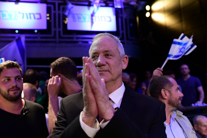 Blue and White party head Benny Gantz attends a party rally in Tel Aviv, two days before the upcoming Israeli elections on September 15, 2019. (Tomer Neuberg/Flash90)