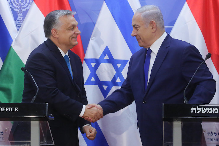 Prime Minister Benjamin Netanyahu holds a joint press conference with Hungarian Prime Minister Viktor Orban, at the Prime Minister's Office in Jerusalem, on July 19, 2018. (Marc Israel Sellem/POOL)