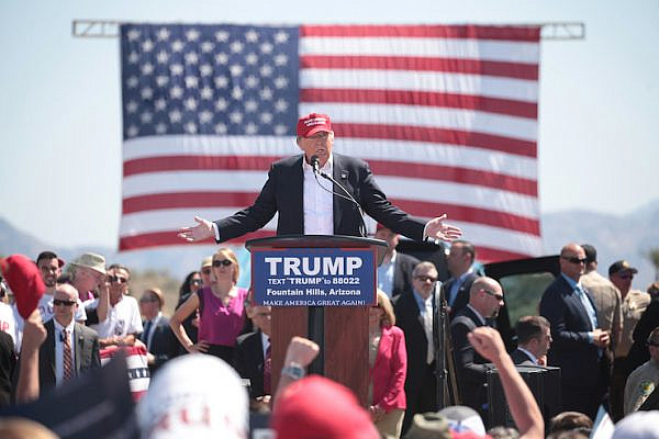 Donald Trump speaks at a campaign event in Fountain Hills, Arizona, before the March 22 primary. (Gage Skidmore/CC BY-SA 2.0)