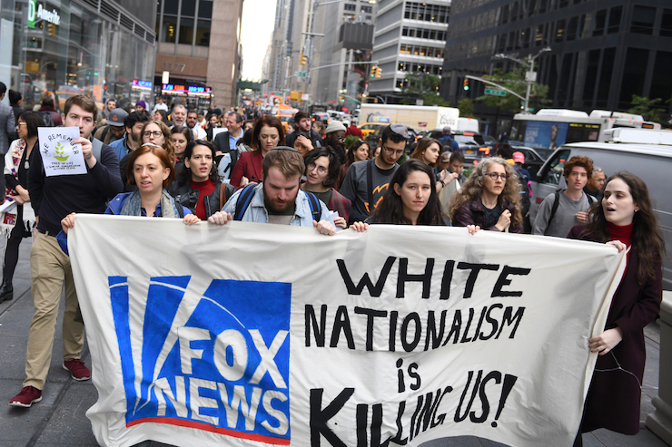 Protesters march to the headquarters of Fox News, New York, October 25, 2019. (Gili Getz)
