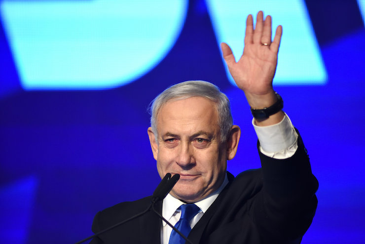 Prime Minister Benjamin Netanyahu delivers a speech at Likud headquarters on election night, Tel Aviv, September 17, 2019. (Gili Yaari/Flash90)