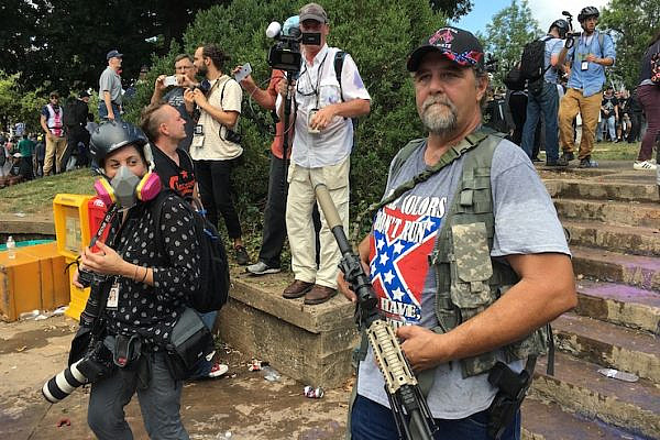 A white supremacist seen during the Unite the Right rally, Charlottesville, Virginia, August 12, 2017. (Evan Nesterak/CC BY 2.0)