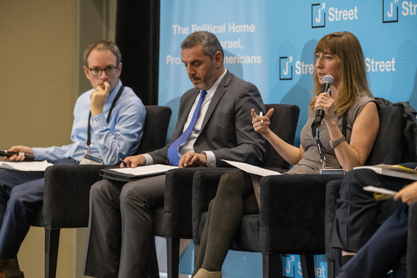 Public opinion expert and +972 writer Dahlia Scheindlin speaks at the 2019 J Street national conference, October 28, 2019. (J Street)
