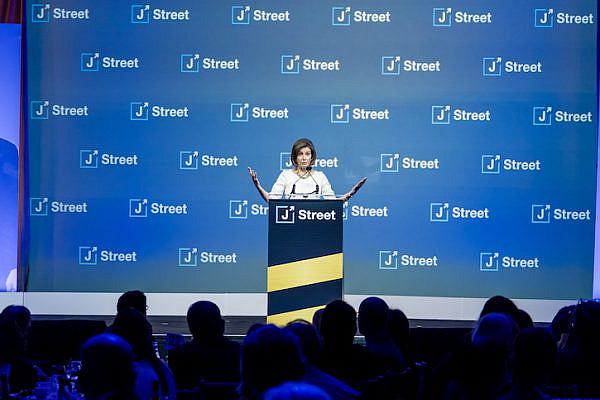 House Speaker Nancy Pelosi (D-CA) speaks at the future of the U.S.-Israel relationship at J Street's 2019 National Gala Dinner, October 28, 2019. (Photo courtesy of J Street)