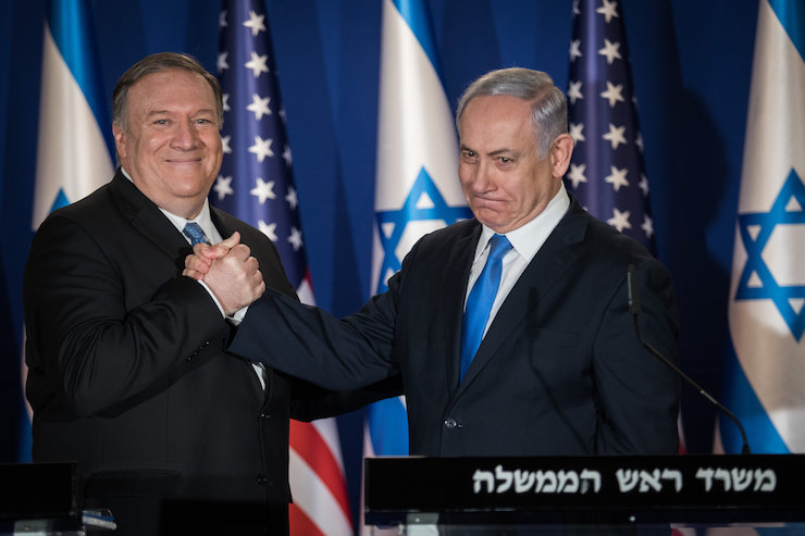 Prime Minister Benjamin Netanyahu and United States Secretary of State Mike Pompeo deliver joint statements at the Prime Minister's Residence in Jerusalem, March 20, 2019. (Hadas Parush/Flash90)