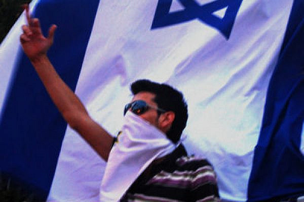 An Israeli demonstrating in front of the Turkish embassy (Credit: Tom Eschar, used with permission)