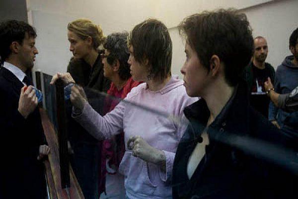 Activists in a Tel Aviv Courtroom on Sunday. Photo: Oren Ziv/Activestills.org