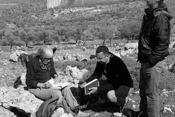 A Yesh Din team collecting testimony in Kusra (Photo: Yossi Gurvitz)
