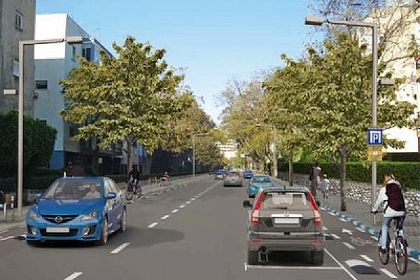Rendering of Tel Aviv's Bloch Street in April 2012 after bike lanes are added (Photo courtesy of Tel Aviv Municipality)
