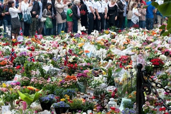 Flowers put by Norwegians in memory of the victims of Anders Brievik's terror attack