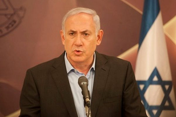 Binyamin Netanyahu speaks at a press conference following the Eilat terror attacks (photo: ActiveStills / Oren Ziv)