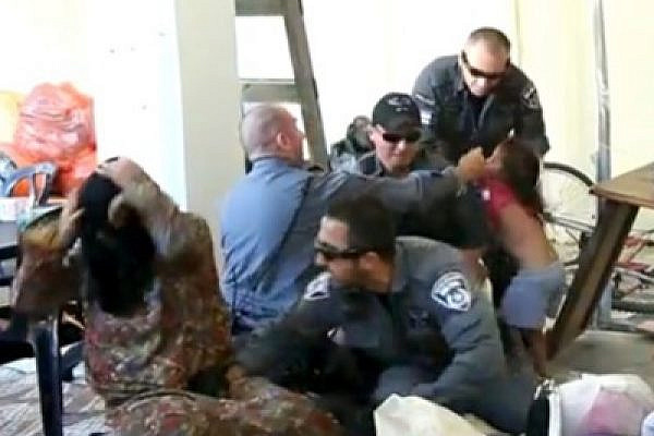 Israeli police during a house eviction in Jaffa