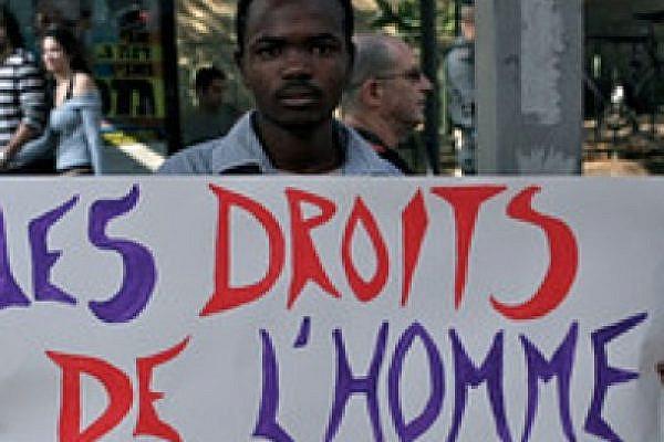 African asylum seeker at Tel Aviv human rights march, December 2010 (photo: Lisa Goldman)