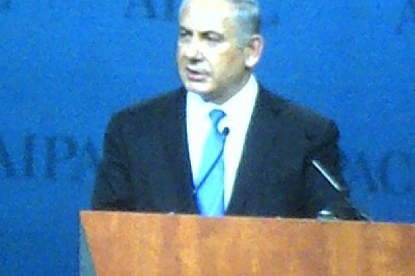 Netanyahu addressing AIPAC gathering, 5 March 2012 (photo: Lara Price)