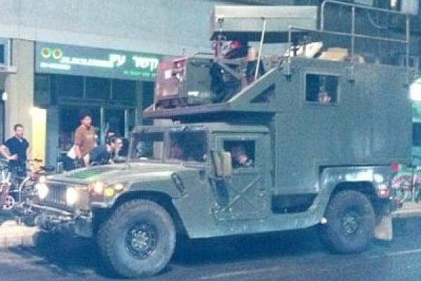 IDF surveillance vehicle, usually in service in the West Bank, used against #J14 protesters in central Tel Aviv (photo: Ariella Azoulay)