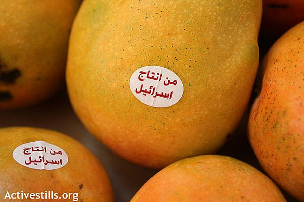 "A mango labeled with a sticker reading ""Made in Israel"" and written in Arabic, seen in a market in Amman city, Jordan, August 28,2012. The mangoes are produced by the Israeli company ""Zemach"", based in the illegal Jewish settlement block of the Jordan valley in the West Bank. (photo by: Ahmad Al-Bazz/Activestills.org)"