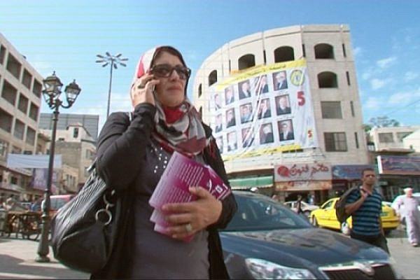 """Maysoun Qawasmi from """"Women's List"""" campaigning in Hebron, Oct 18, 2012 (photo: DC)"""