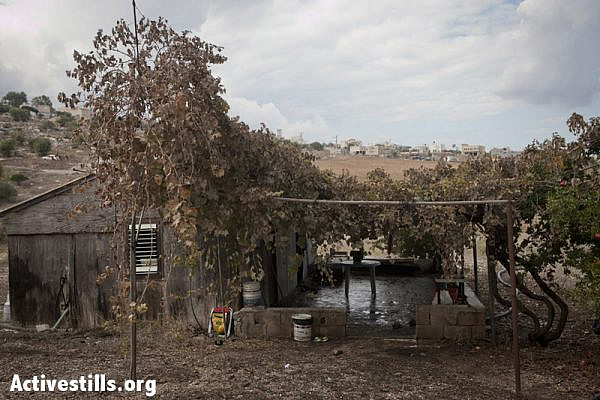 Houses of the Bedouin family of Khawalid threatened to be demolished by the Israeli administration, October 27, 2012. The Israeli administration has issued demolition warrants for the family after announcing that their lands are bordering with an area planed to be a national park. (photo: SG/Activestills.org)