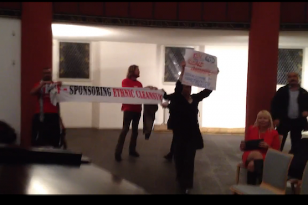 Pro-Palestinian activists interrupt a JNF event in Berlin, Germany.