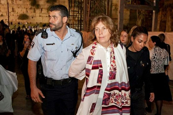 Anat Hoffman of Women of the Wall (Nshot Ha-Kotel) arrested at the Western Wall, Old City of Jerusalem (photo: Women of the Wall)