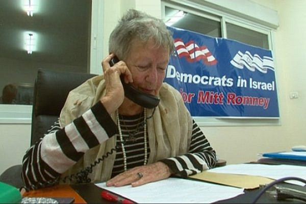 Breiyda Franklin, a long-time Democrat, calling American Jews and encouraging them to vote for Romney from Jerusalem, Oct 16, 2012. (photo: DC)