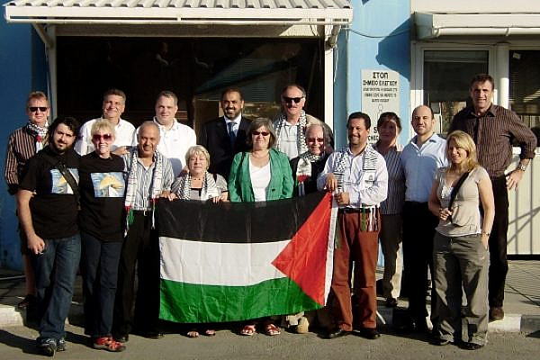 Greta Berlin (second from the left, bottom) with a group of activists and parliamentarians at the Larnaca port (photo: Free Gaza Movement / CC BY-ND 2.0)