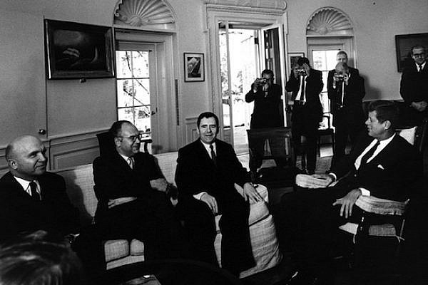 President Kennedy meets with Soviet Foreign Minister Andrei Gromyko in the Oval Office. The President knows but does not reveal that he is now aware of the missile build-up. (photo: Wikicommons)