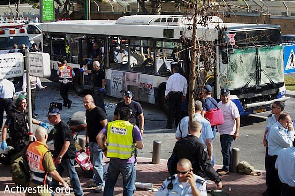 The aftermath of an explosion on a bus in central Tel Aviv, November 21, 2011. (photo: Yotam Ronen/Activestills.org)