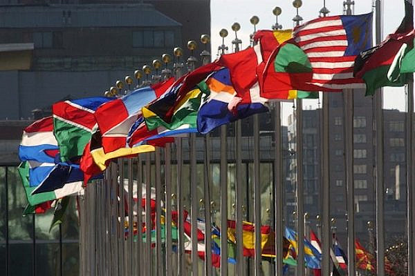 Flags of member nations flying at United Nations Headquarters. (photo: UN / Joao Araujo Pinto)