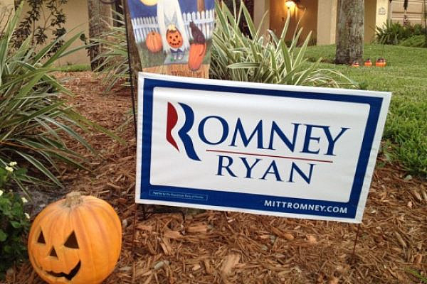 Scary: Romney/Ryan signs decorate many of the residential lawns in Boca Raton, Florida, Oct 31, 2012 (photo: Roee Ruttenberg)
