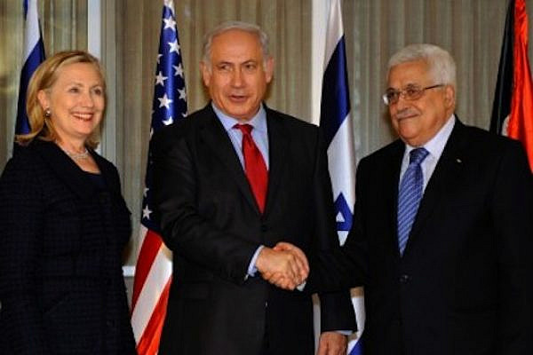 U.S. Secretary of State Hillary Rodham Clinton, Prime Minister Binyamin Netanyahu and President Mahmoud Abbas. (photo: State Department photo/ Public Domain)