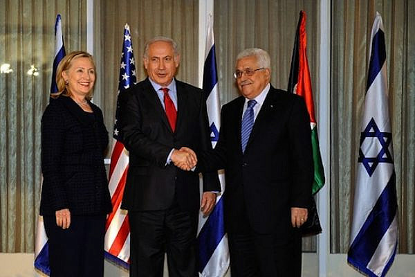 Netanyahu, Abbas and Clinton, September 2010. (photo: Wikimedia Commons)