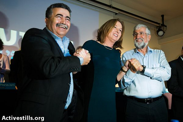 Amir Peretz, Tzipi Livni and Amram Mitzna [right] (photo: Yotam Ronen / Activestills.org)