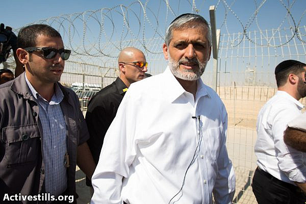 Eli Yishai visit detention camps for Asylum Seekers in the south (photo: Yotam Ronen / Activestills.org)