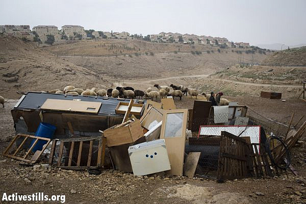 A  sheep shelter constructed out of old furniture in a Bedouin camp in the E1 area, situated between Jerusalem and the Israeli West Bank settlement of Maale Adumim (background), on December 11, 2012. Israel has approved the building of 3,000 settler homes on the patch of land; a development that has been on hold for years due to pressure from the US and EU. (photo by: Oren Ziv/Activestills.org)