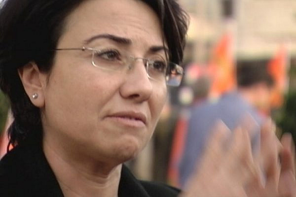 MK Hanin Zoabi says voting in Israeli elections is part of the struggle, after addressing supporters in Kufar Manda, January 2013 (photo: GS)
