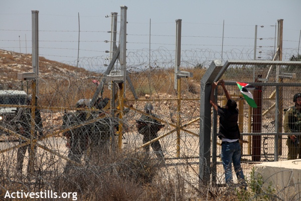 A protester hanging a Palestinian flag on the separation barrier near Budrus, July 2011 (photo: Activestills.org)