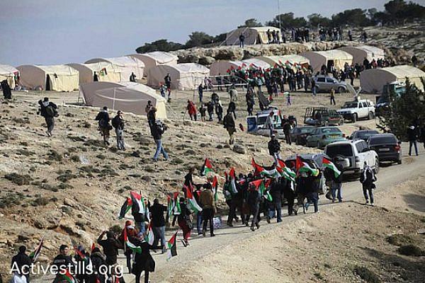 "Palestinian activists arrive at the ""Bab Al Shams"" camp, E1 area, January 12, 2013. (photo: Yotam Ronen/Activestills)"