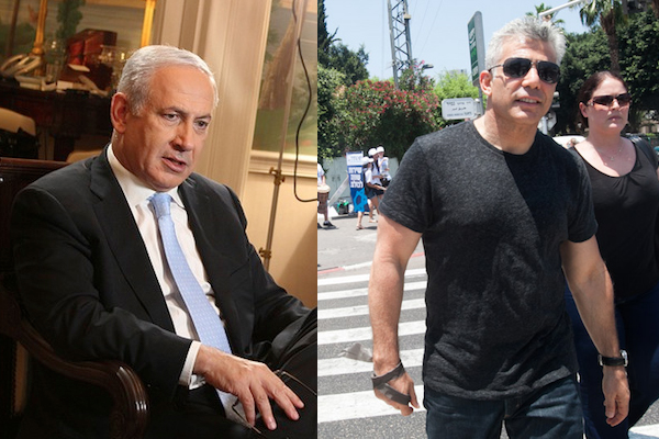 Binyamin Netanyahu and Yair Lapid (Photo: IsraeliinUSA/CC BY 2.0, Activestills.org)