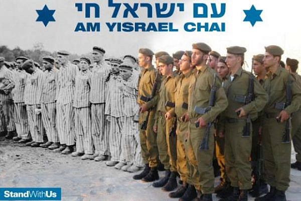 Stand With Us poster juxtaposing Holocaust survivors with IDF soldiers