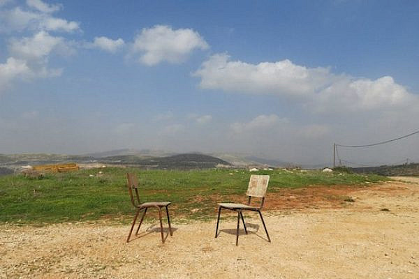 A view from the top of the Seter HaMadrega outpost, just west of the Kfar Tapuach settlement in the West Bank. (photo: Yuval Ben-Ami)